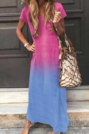 V-neck Short Sleeve Tie-dye Dress