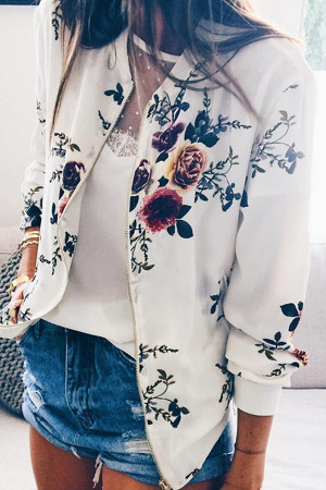 Printed Round Neck Zip Up Jacket