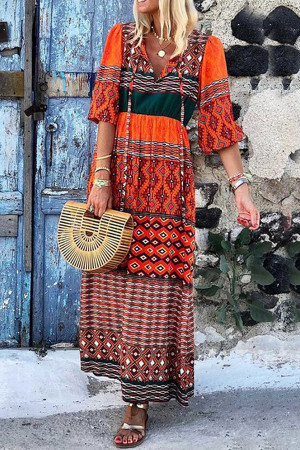 Red V-neck Printed Bohemian Dress