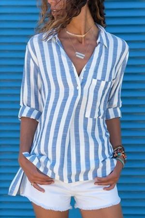 Stripe V-neck Pocket Blouse