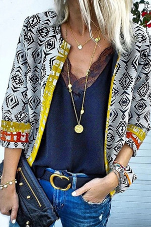 Printed Open Front Cardigan Coat