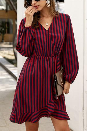V-Neck Striped Dress
