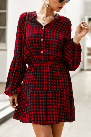 V-Neck Plaid Dress