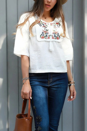 Patchwork Embroidered T-shirt