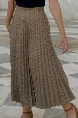 Plaid Pleated Long Skirt