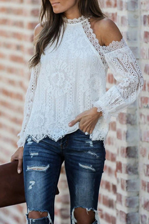Round Neck Cut Out Casual Top