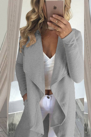 Solid Lapel Wool Cardigan