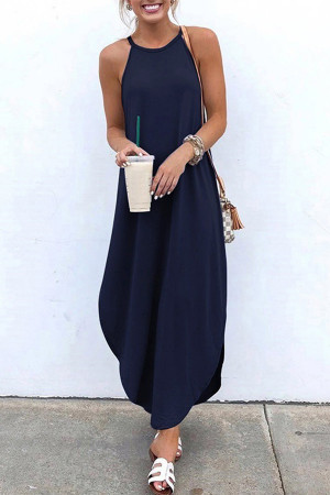 Solid Halter Curved Hem Dress