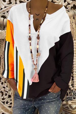 Striped Panel V-neck Sweatshirt