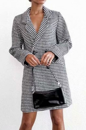 Plaid Buttoned Lapel Coat