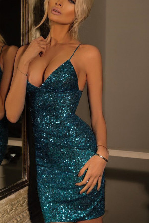 Sequins Spaghetti Strap Dress