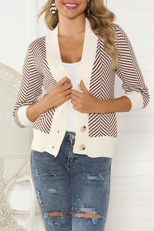 V-neck Striped Buttons Cardigan