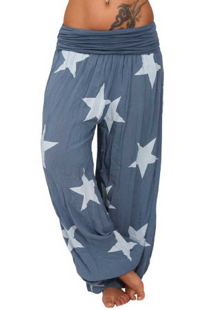 Star Print Shirred Harem Pants