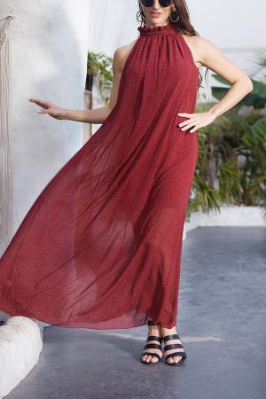 Polka Dot Lace-up Long Dress