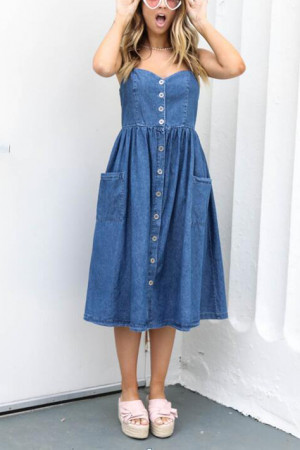 Single Breasted Denim Cami Dress