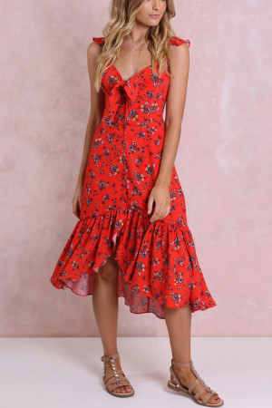 Floral Print Knot Front Dress