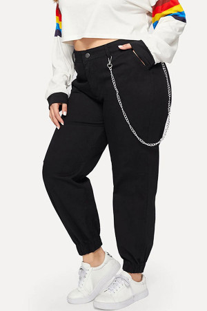 Black Pockets Casual Pants