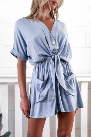 Buttoned Tie Front Romper