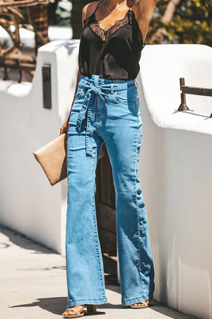 Stretch Belt Flared Jeans