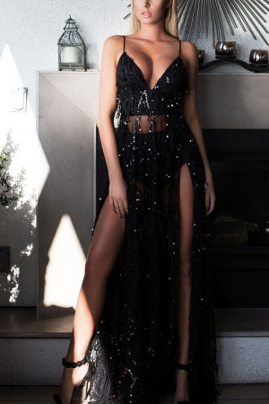 Backless Sequined Slit Prom Dress