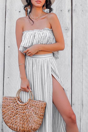 Striped Bandeau Two Piece