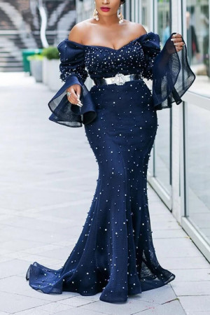 Beaded Flare Sleeve Mermaid Dress