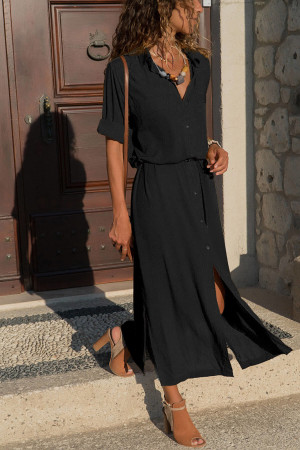 Belt Slit Shirt Dress
