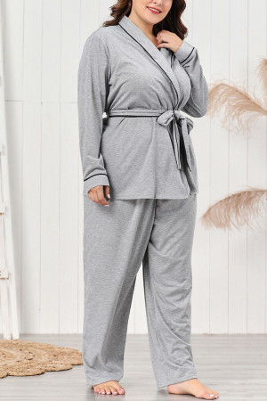 Belted Long Sleeve Pajama Set