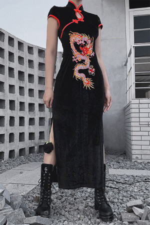 Black Embroidered Split Dress