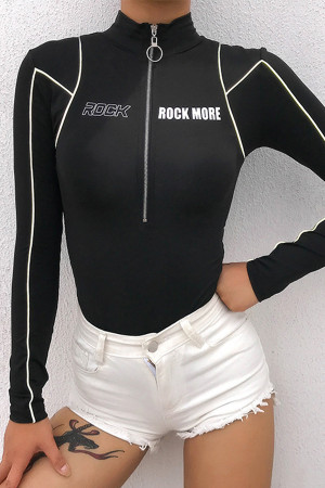 Black Half Zip Bodysuit
