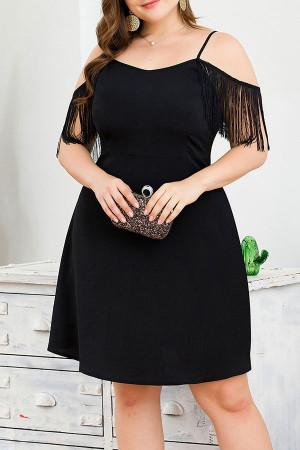 Black Off-the-shoulder Tassel Dress