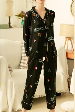 Black Print PJ Pants Set