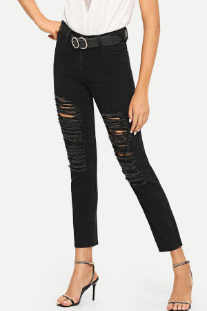 Black Ripped Casual Jeans
