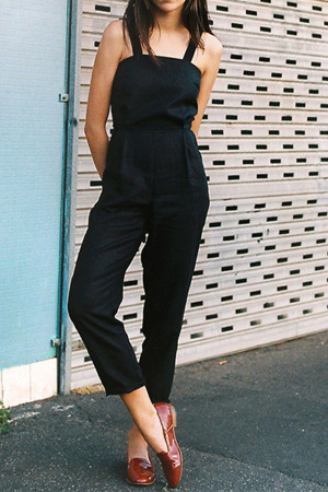 Black Sleeveless Button Back Jumpsuit