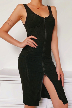 Black Sleeveless Zipper Bodycon Dress