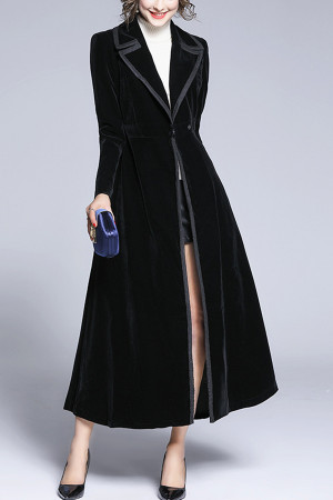 Black Velvet Snap Button Coat