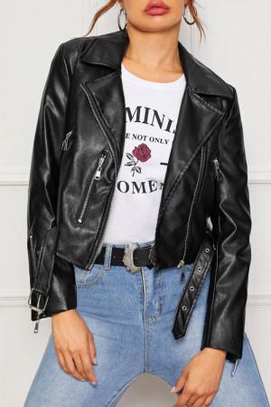 Black Zipper Leather Jacket
