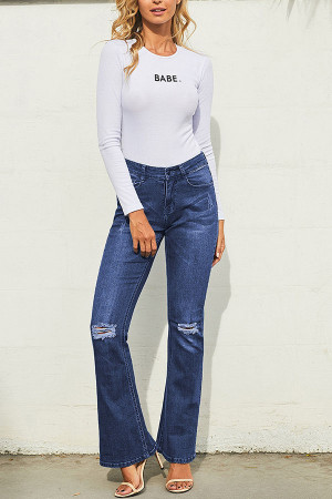 Blue Frayed Flared Jeans