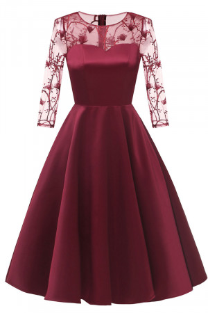 Applique Satin Homecoming Dress
