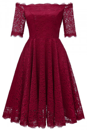 Off Shoulder Lace A-line Dress