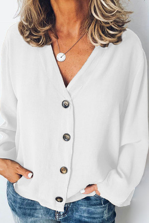 Buttons Solid Chiffon Blouse
