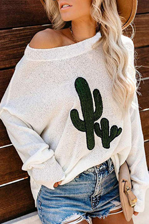 Cactus Embroidered Turtleneck T-shirt