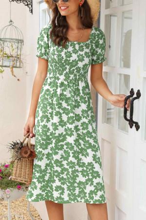 Casual Print Side Slit Dress