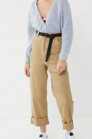 Casual Straight Roll Up Pants