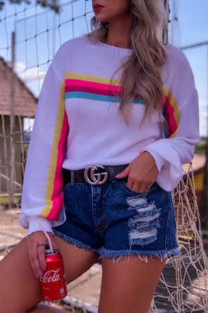 Casual Striped Scoop Sweater