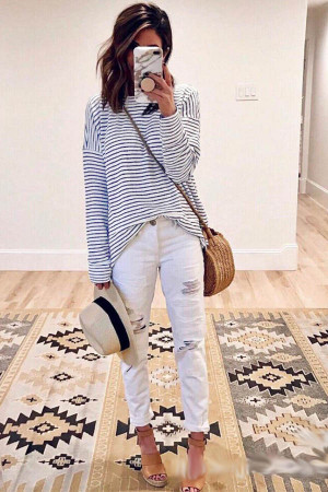 Casual Loose Stripe T-shirt