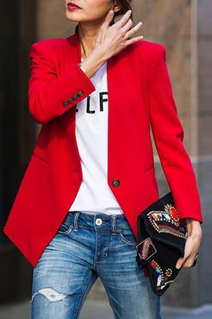 Casual Solid Buttons Blazer