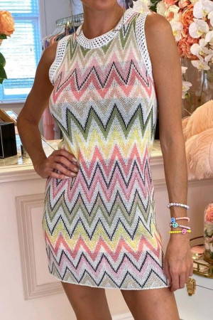 Chevron Sleeveless Knit Dress