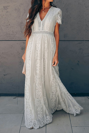 Chic V-neck Lace Dress