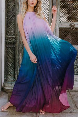Color-block Halter Dress
